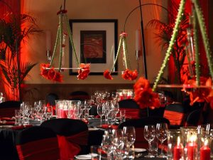 Themed party decorations at London Marriott West India Quays