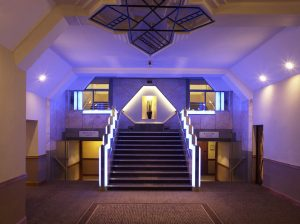 Strand Palace art deco staircase is an impressive welcome for guests attending a Christmas party in London. jpg